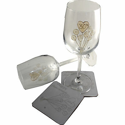 30th Wedding Anniversary Wine Glass and Coaster Gift Set Pearl anniversary