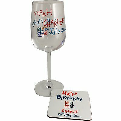 Personalised 18th Birthday Wine Glass and Coaster Gift Set (Brights)