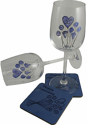 20th Wedding Anniversary Wine Glass and Coaster Gift Set China anniversary