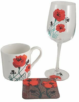 Poppy Wine Glass, China Mug and Coaster Gift Set