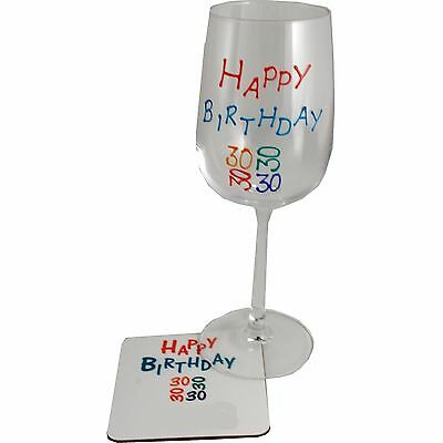 30th Birthdday Wine Glass and Coaster Gift Set (Brights)