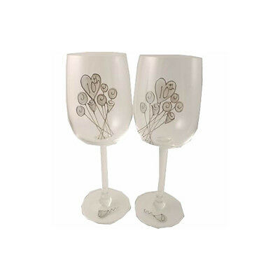 Personalised 10th Wedding Anniversary Pair of Wine Glasses Flower