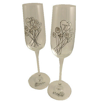 70th Wedding Anniversary Pair of Champagne Flutes Flower