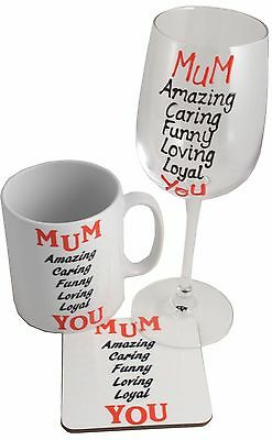 MUM Wine Glass, Ceramic Mug and Coaster Gift Set - Mother's Day Gifts