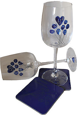 65th Wedding Anniversary Wine Glass and Coaster Gift Set Blue Sapphire