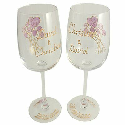 Personalised 55th Wedding Anniversary Pair of Wine Glasses Flower