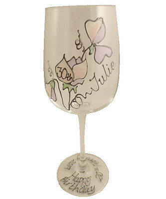 Personalised 30th Birthday Sweet Pea Gift Wine Glass