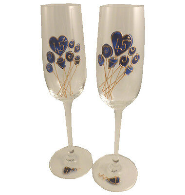 45th Wedding Anniversary Gift Pair of Champagne Flutes Flower