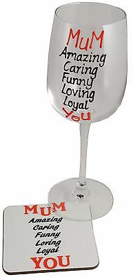 MUM Wine Glass and Coaster Gift Set - Mother's Day gift