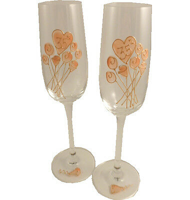 35th Wedding Anniversary Gift Pair of Champagne Flutes Flower