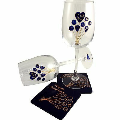 45th Wedding Anniversary Wine Glass and Coaster Gift Set Sapphire anniversary