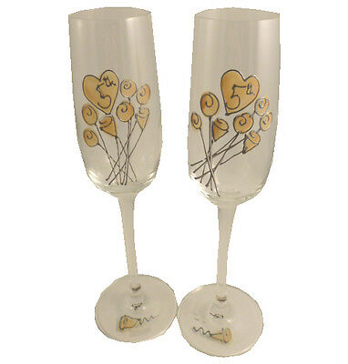 Personalised 5th Wedding Anniversary Pair of Champagne Flutes Flower