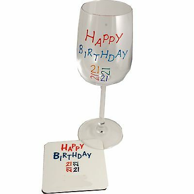 21st Wine Glass and Coaster Gift Set (Brights)