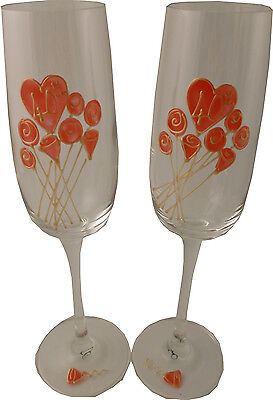 40th Wedding Anniversary Pair of Champagne Flutes Flower