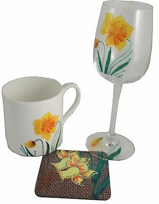 Daffodil Wine Glass, China Mug and Coaster Gift Set