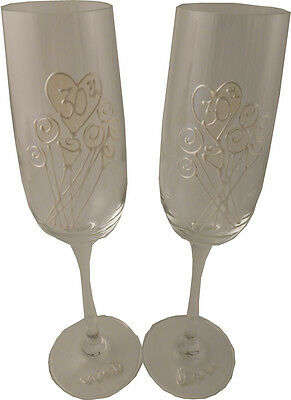 Personalised 30th Wedding Anniversary Gift Pair of Champagne Flutes Flower