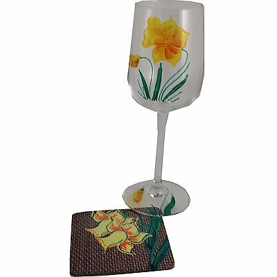 Daffodil Wine Glass and Coaster Gift Set