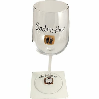 Godmother Wine Glass and Coaster Gift Set (Feet)