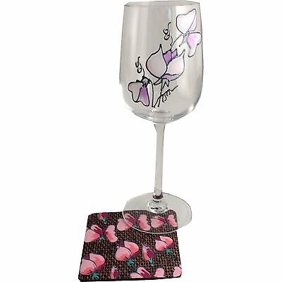 Sweetpea Wine Glass and Coaster Gift Set