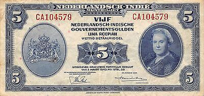Netherlands Indies  5 Roepiah/Gulden 2.3.1943  Series CA circulated Banknote A23