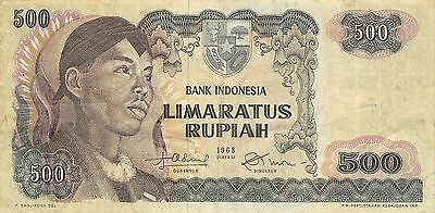 Indonesia 500 Rupiah 1968  Prefix NBU circulated Banknote