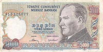 Turkey  5000 Lira  ND. 1981  P 196A  Series A  Circulated Banknote LB0617W