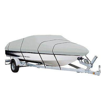 20-22ft 600D Heavy Duty Waterproof Fabric Trailerable Pontoon Boat Cover Gray