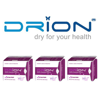 DRION Negative Ion Far Infrared Feminine Menstrual NIGHT PADS - 3 PACK Exp 2020