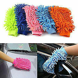 2 X Microfibre  Glove Car Care Kitchen Household Wash Washing Cleaning Mit Clean
