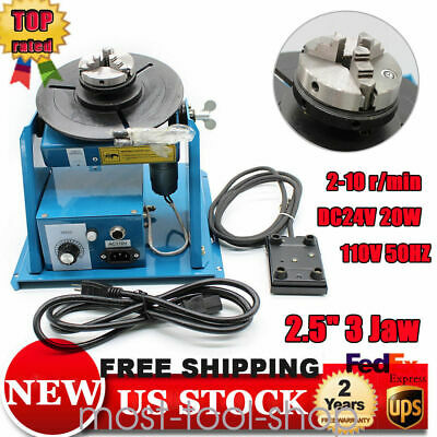 """Rotary Welding Positioner Turntable Table Mini 2.5"""" 3 Jaw Lathe Chuck 10KG 110V"""