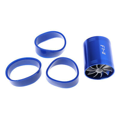 F1-Z Blue Double Supercharger Universal Turb Air Intake Fuel Gas Saver Fan