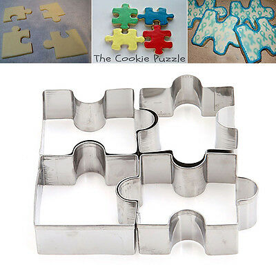 4Pcs cute Stainless Steel Puzzle Shaped Cake Cuter Cookie Mold Cooking Tool