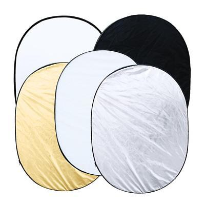 """90x120cm/35""""x47"""" 5 IN 1 Photo Studio Multi Collapsible Light Oval Reflector #UK#"""