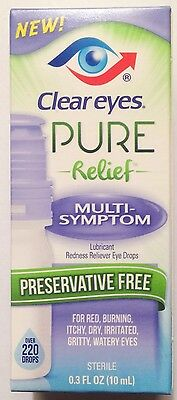 Clear Eyes Pure Relief Multi-Symptom Eye Drops For Red Burning Itchy Dry + More
