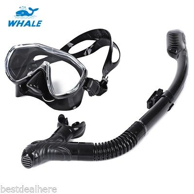 WHALE Diving Tempered Glass Silicone Mask Snorkel Set with Adjustable Strap