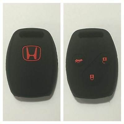 Honda Black With Red Car Key Cover Case Civic Accord Cr-V Odyssey City Euro Fit
