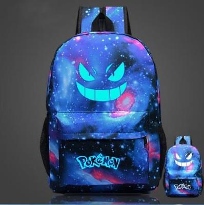 Pokemon Go Gengar Galaxy Noctilucence Backpack Rucksack Laptop Travel School Bag