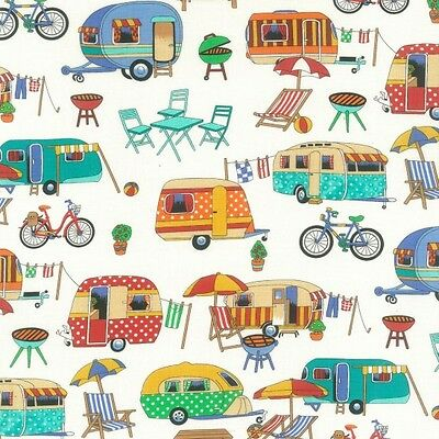 Caravan Getaway Retro Cotton Quilting Fabric 1/2 YARD