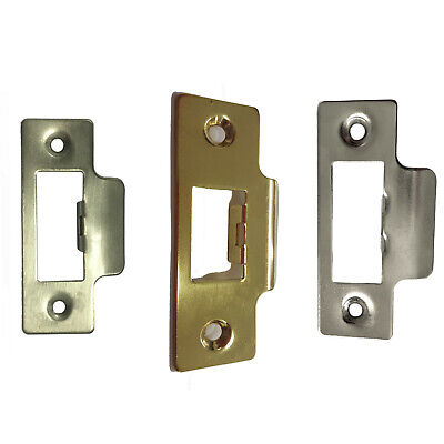 Short Strike Plate Polished Chrome or Brass for For Tubular Lock or Mortice Latc
