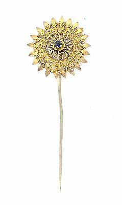 Antique Turkish Ottoman Solid Silver Gold Plated Filigree Pin Brooch Jewelry