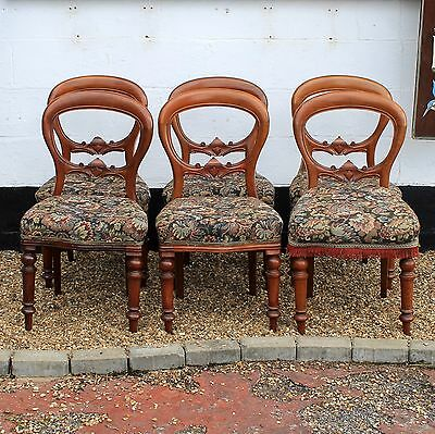 Set of Six Reproduction Antique Balloon Back Dining Chairs with Upholstered Seat
