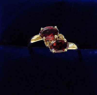 Two Stone Garnet Ring with Diamond and Twist in 9ct Yellow Gold - Size P