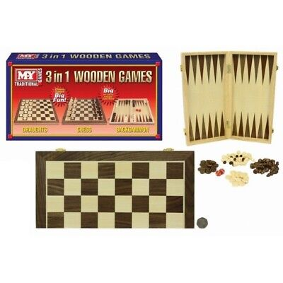 Draughts Chess Backgammon 3 In 1 Wooden Classic Board Games Toy 38Cm