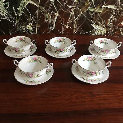 ROYAL ALBERT England MOSS ROSE - 5 edle Suppentassen mit Untertassen