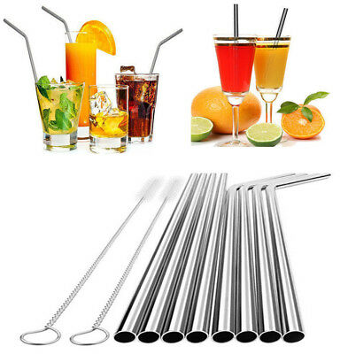 4pcs Stainless Steel Metal Reusable Cocktail Drinking Straws Cleaner Brush Set