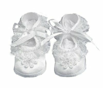 Lauren Madison Baby girl Christening Baptism Satin Shoes With Hand Made Pearl ,