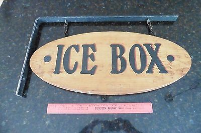 Ice Box Sign wooden hanging on wall bracket double sided antique vintage style