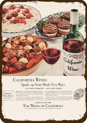 1955 THE WINES OF CALIFORNIA - RED WINE - Vintage Look Metal Sign