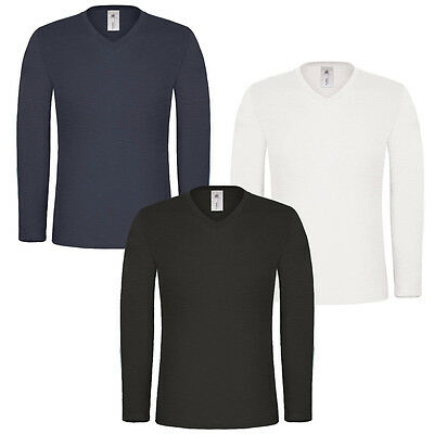 Mens Long Sleeve T-shirt 100% Cotton Base Layer V Neck Slim Fit Muscle Top Plain