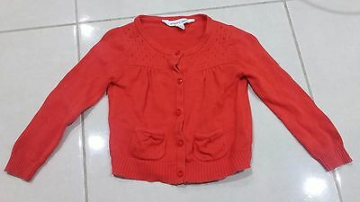Baby girl PUMPKIN PATCH red cotton cardigan size 6-12 months 72cms